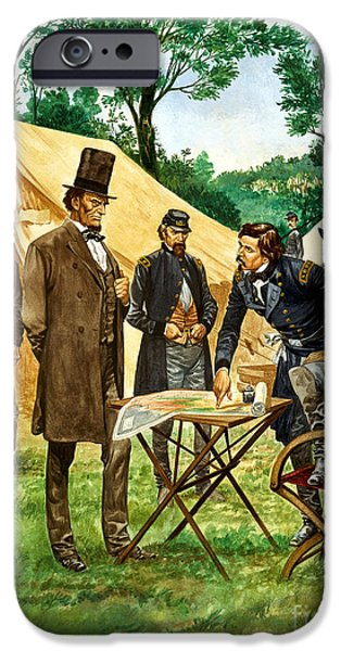 Assassinated iPhone Cases - Abraham Lincoln plans his campaign during the American Civil War  iPhone Case by Peter Jackson