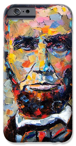 Texture Paintings iPhone Cases - Abraham Lincoln portrait iPhone Case by Debra Hurd
