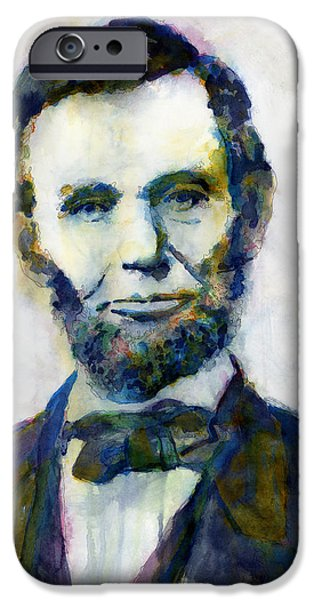 Politician iPhone Cases - Abraham Lincoln Portrait Study 2 iPhone Case by Hailey E Herrera