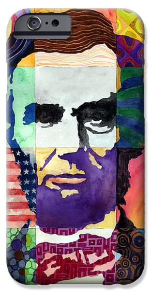 Politician iPhone Cases - Abraham Lincoln Portrait Study iPhone Case by Hailey E Herrera