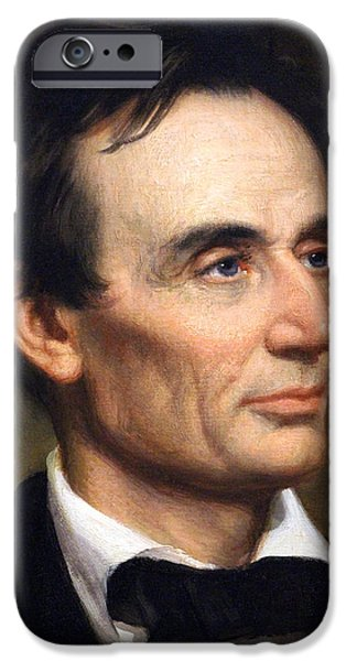 Recently Sold -  - Boston Ma iPhone Cases - Abraham Lincoln By George Peter Alexander Healy Up Close iPhone Case by Cora Wandel