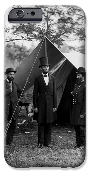 President iPhone Cases - Lincoln with Pinkerton and McClernand at Antietam iPhone Case by Jim Cox