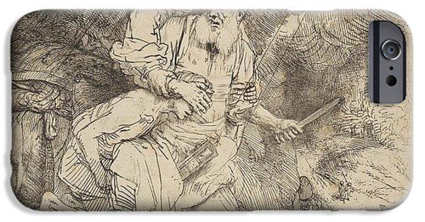 Rembrandt Drawings iPhone Cases - Abrahams Sacrifice iPhone Case by Rembrandt van Rijn