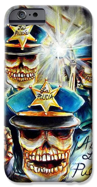 Police Paintings iPhone Cases - Abre La Puerta iPhone Case by Heather Calderon