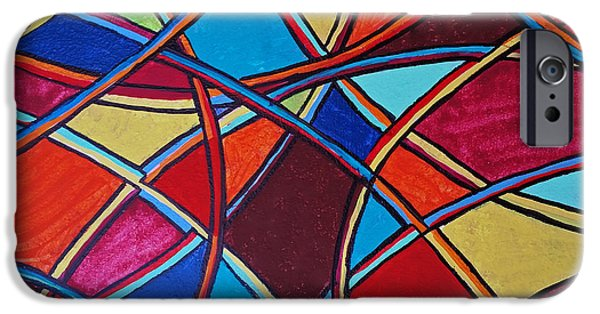 Red Abstract iPhone Cases - Abstract 10 iPhone Case by Susan Sadoury