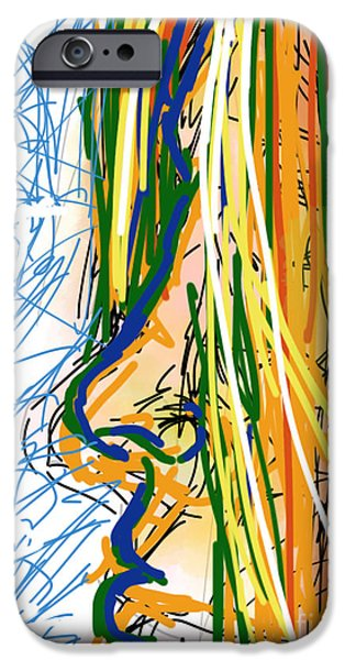 Abstract Digital Drawings iPhone Cases - Abstract 44 Profile of a Woman iPhone Case by Robert Yaeger