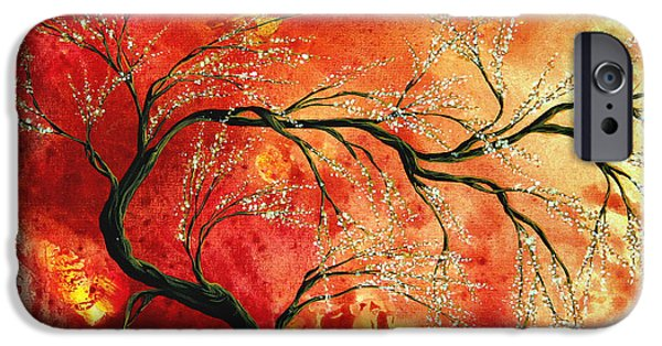 Whimsy Paintings iPhone Cases - Abstract Art Floral Tree Landscape Painting FRESH BLOSSOMS by MADART iPhone Case by Megan Duncanson