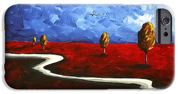 Colorful Abstract iPhone Cases - Abstract Art Original Landscape Painting WINDING ROAD by MADART iPhone Case by Megan Duncanson