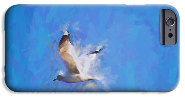 Flying Seagull iPhone Cases - abstract artistic Flying Gull May iPhone Case by Leif Sohlman