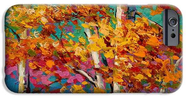 Fall iPhone Cases - Abstract Autumn III iPhone Case by Marion Rose