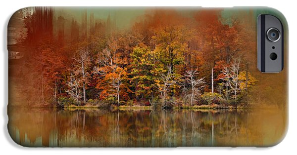 Nature Abstract iPhone Cases - Abstract Autumn Lake iPhone Case by Jai Johnson