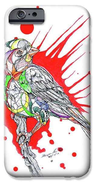 Google Mixed Media iPhone Cases - Abstract Bird 002 iPhone Case by Dwayne  Hamilton