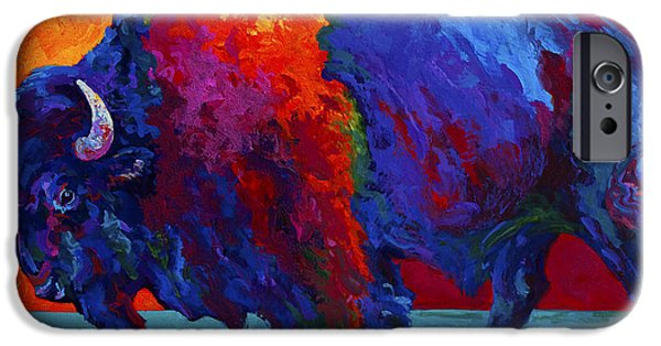 Bison iPhone Cases - Abstract Bison iPhone Case by Marion Rose