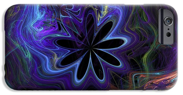 Graphic Design iPhone Cases - Abstract Blue flower and line motif iPhone Case by Ronel Broderick