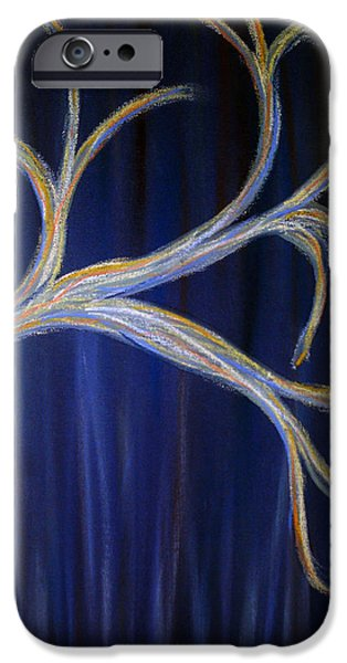 Organic Pastels iPhone Cases - Abstract Blue Tree iPhone Case by Dorneisha Batson