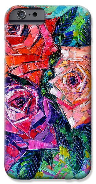Shape iPhone Cases - Abstract Bouquet Of Roses iPhone Case by Mona Edulesco