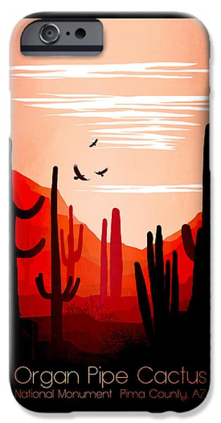 Abstract Digital iPhone Cases - Abstract Cactus Landscape Art 2 - by Nostalgic Art iPhone Case by Nostalgic Art