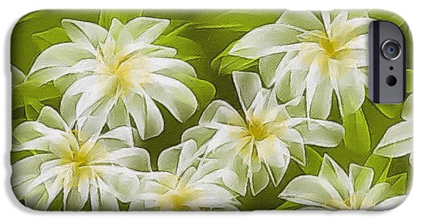 Abstract Digital Paintings iPhone Cases - Abstract daisies iPhone Case by Veronica Minozzi