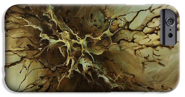 Monotone Paintings iPhone Cases - Abstract design 107 iPhone Case by Michael Lang