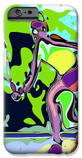 Racquet iPhone Cases - Abstract Female Tennis Player 2 iPhone Case by Chris Butler