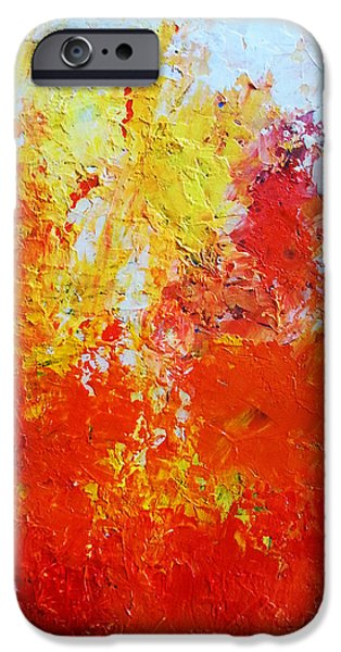 Red Abstract iPhone Cases - Abstract fire iPhone Case by Angelina Sofronova