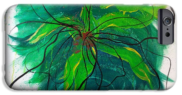 Modern Abstract iPhone Cases - Abstract Flora iPhone Case by Janice Rae Pariza