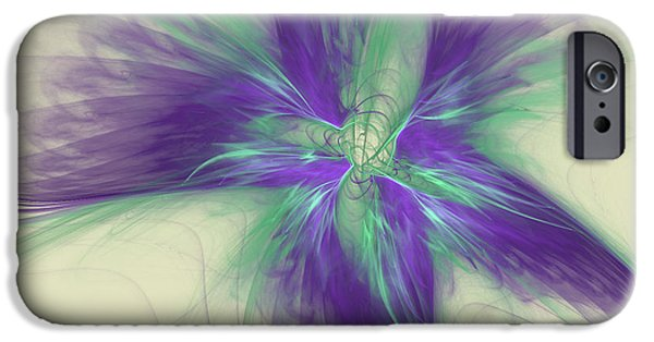 Green Surreal Geometric iPhone Cases - Abstract Flower Sway iPhone Case by Deborah Benoit