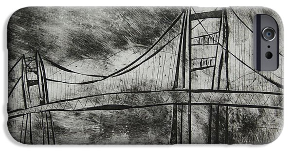 Bay Bridge Mixed Media iPhone Cases - Abstract Golden Gate Bridge Black and White Dry Point Print Cropped iPhone Case by Marina McLain