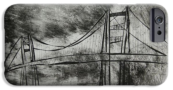 Bay Bridge Mixed Media iPhone Cases - Abstract Golden Gate Bridge Black and White Dry Point Print iPhone Case by Marina McLain
