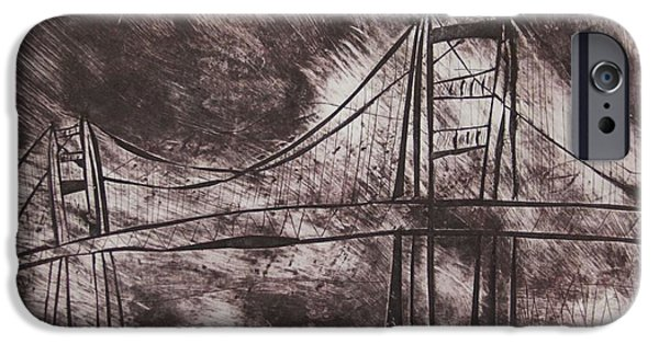 Bay Bridge Mixed Media iPhone Cases - Abstract Golden Gate Bridge Dry Point Print Cropped iPhone Case by Marina McLain