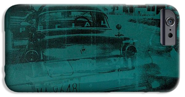 Car Paintings iPhone Cases - Abstract green car iPhone Case by David Studwell