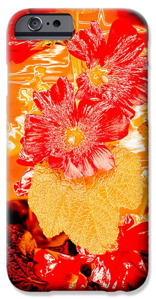 Abstract Digital Photographs iPhone Cases - Abstract Hollyhock Flowers iPhone Case by Julie Wooden