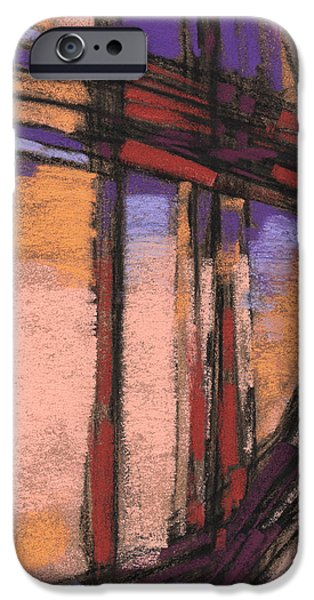 Abstractions Pastels iPhone Cases - Abstract in Peach Purple and Rust iPhone Case by Janine Aykens