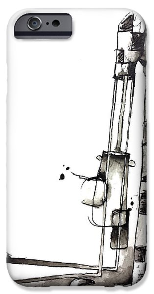 Abnormal Drawings iPhone Cases - Abstract Ink Character iPhone Case by Nick Watts