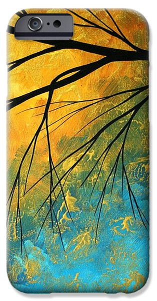 Yellow Abstracts iPhone Cases - Abstract Landscape Art PASSING BEAUTY 2 of 5 iPhone Case by Megan Duncanson