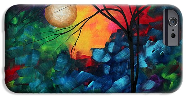 Aqua iPhone Cases - Abstract Landscape Bold Colorful Painting iPhone Case by Megan Duncanson