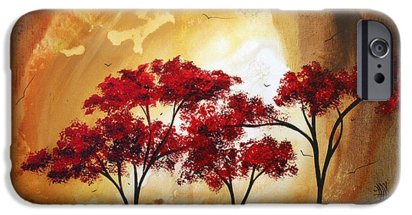 Tan iPhone Cases - Abstract Landscape Painting EMPTY NEST 2 by MADART iPhone Case by Megan Duncanson