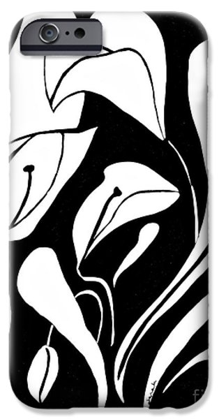 Flora Drawings iPhone Cases - Abstract Lilies iPhone Case by Sarah Loft