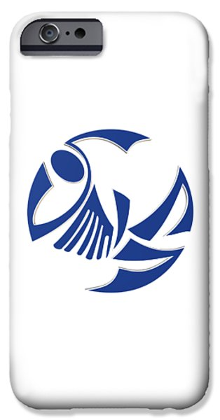 Graphic Design iPhone Cases - Abstract logo of the blue fish iPhone Case by Igor Sinitsyn