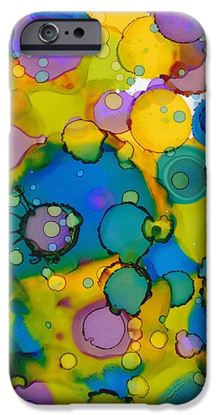 Invitations Paintings iPhone Cases - Abstract Microscope Party iPhone Case by Nikki Marie Smith