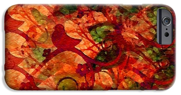 Abstract Digital Paintings iPhone Cases - Abstract Mood Creations Catus 1 no. 2 H B iPhone Case by Gert J Rheeders