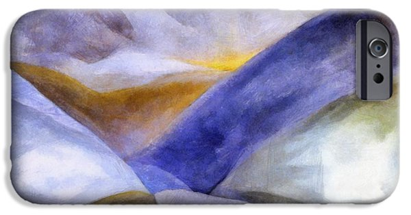 Pathway Digital iPhone Cases - Abstract Mountain Landscape iPhone Case by Michelle Calkins