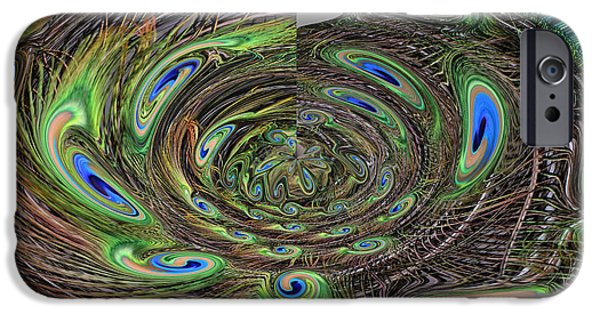 Abstract Digital Drawings iPhone Cases - Abstract of Peacock Feathers III iPhone Case by Jim Fitzpatrick