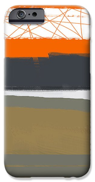 Shape iPhone Cases - Abstract Orange 1 iPhone Case by Naxart Studio