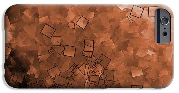 Freedmen iPhone Cases - Medium Orange - Abstract Tiles No15.819 iPhone Case by Jason Freedman