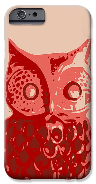 Printmaking iPhone Cases - Abstract Owl Contours Red iPhone Case by Keshava Shukla