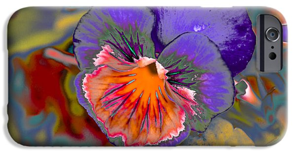 Abstract Digital Photographs iPhone Cases - Abstract Pansy iPhone Case by Julie Wooden