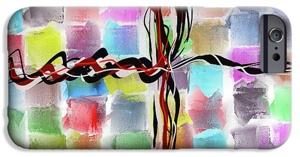 Time2paint iPhone Cases - Abstract Patchwork Canvas iPhone Case by Michael Greenaway