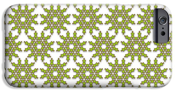 Seamless Tapestries - Textiles iPhone Cases - Abstract Pattern Green Flowers iPhone Case by Jozef Jankola