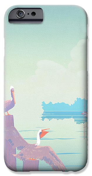 Abstract Seascape iPhone Cases - Abstract Pelicans tropical florida seascape sailboats large pop art nouveau 1980s stylized painting iPhone Case by Walt Curlee